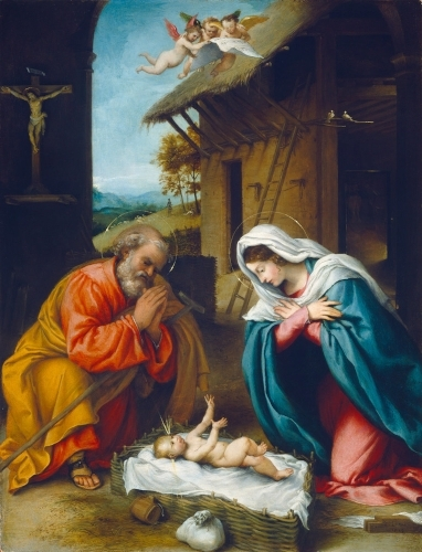 Lorenzo Lotto (Italian, c. 1480 - 1556/1557 ), The Nativity, 1523, oil on panel, Samuel H. Kress Collection